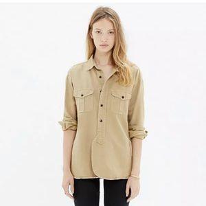 Madewell Boy Utility Cargo tan work shirt